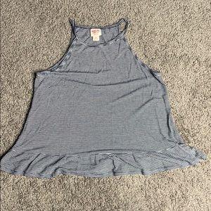 navy striped tank ruffled shirt